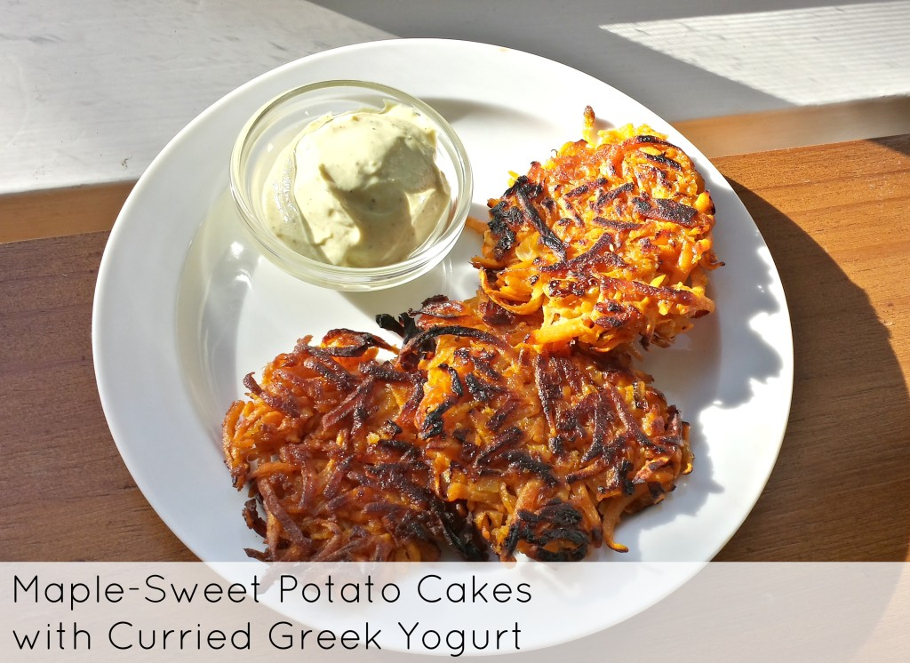 Sweet potato cakes sweetened with maple syrup. Recipe from Food52 and FoxesLoveLemons.